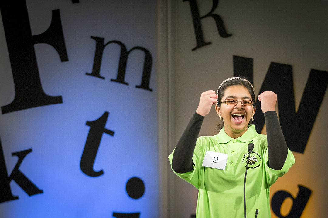 "Smrithi Upadhyayula, 13, from Coppell Middle School West, reacts after correctly spelling ""vichyssoise"" to win The Dallas Morning News Regional Spelling Bee on Saturday, March 26, 2016, in Dallas. (Smiley N. Pool/The Dallas Morning News)"